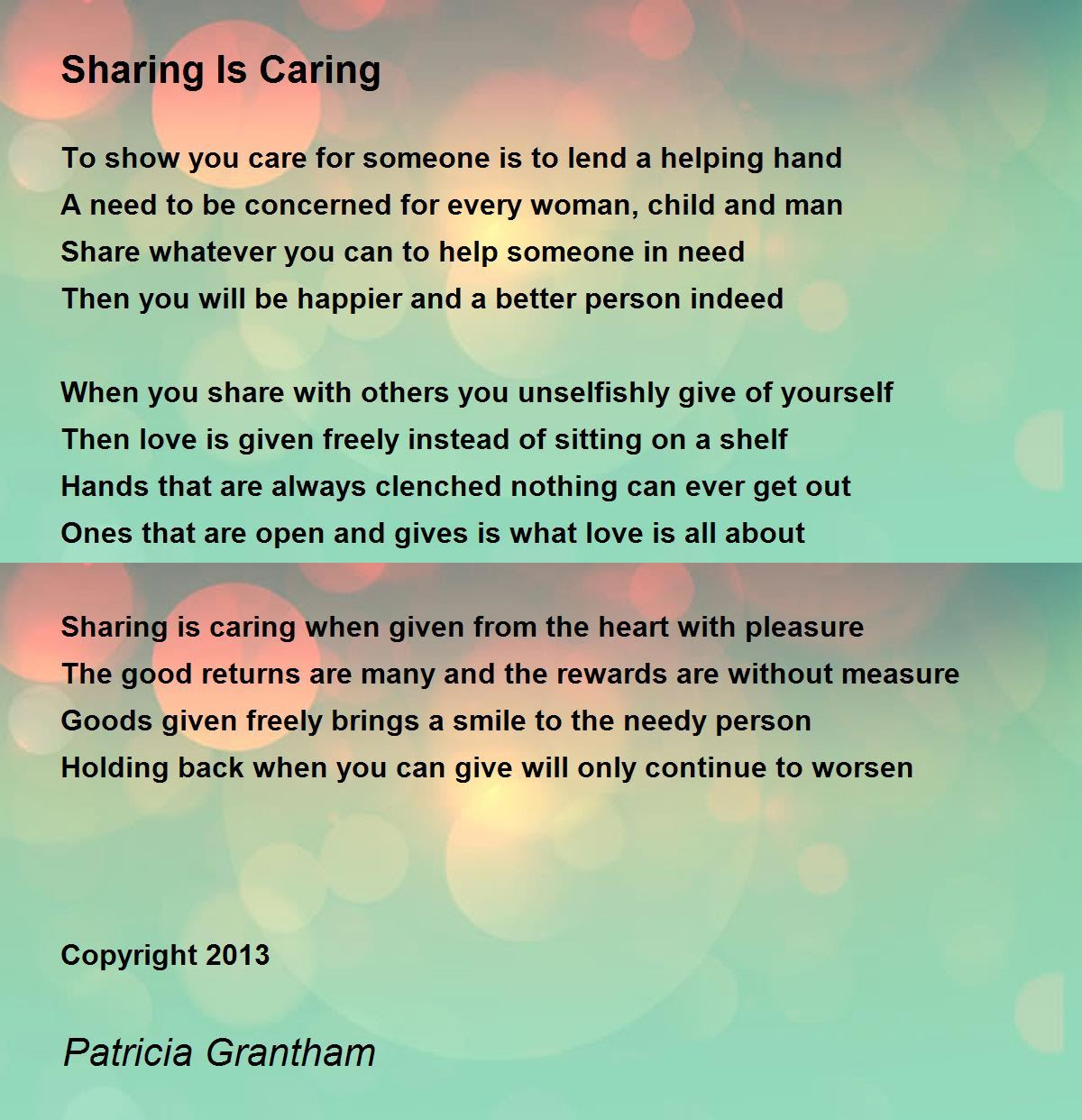 Essay About Giving And Sharing