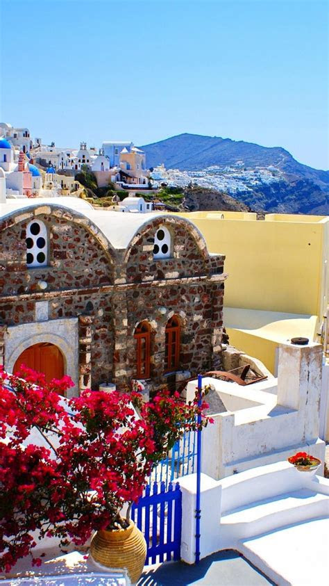 greece bougainvillea buildings cityscapes coast wallpaper