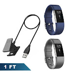 Zodaca Fitbit Charge 2 Bands Wristbandand Charger 2 Pcs (Gray & Dark Blue) Replacement Bands Rubber Wristband Fashion Sport Strap with Metal Buckle