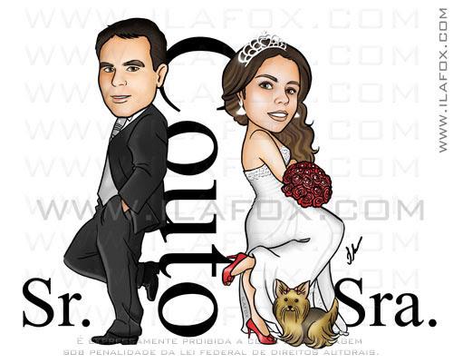 caricatura noivinhos, Couto, sr e sra smith, by ila fox