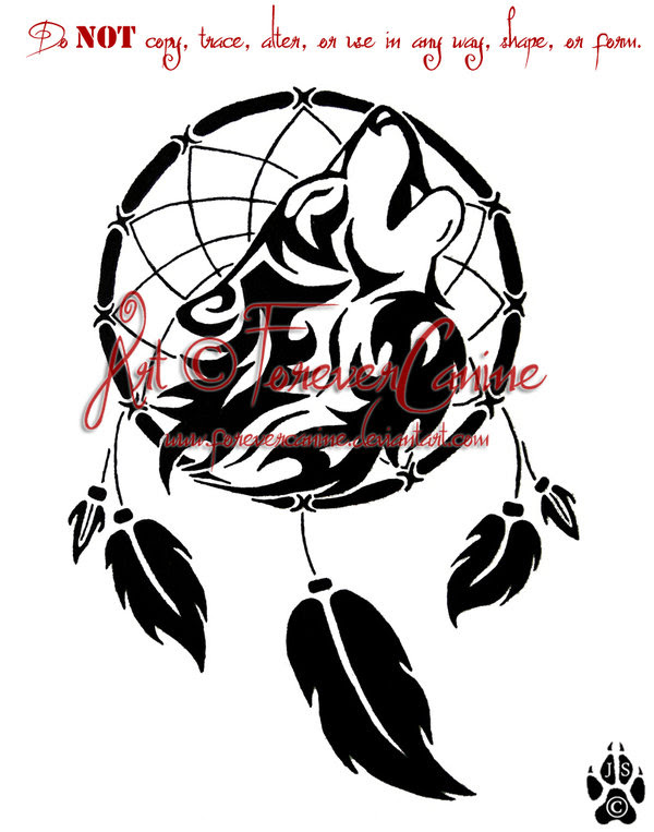Dreamcatcher Wolf Tattoo Design