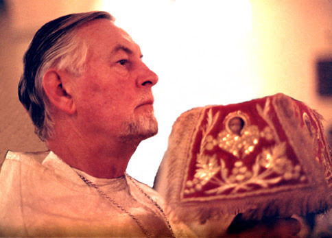 Fr. A. Schmemann during Liturgy.  Taken by Pdn. Michael Roshak