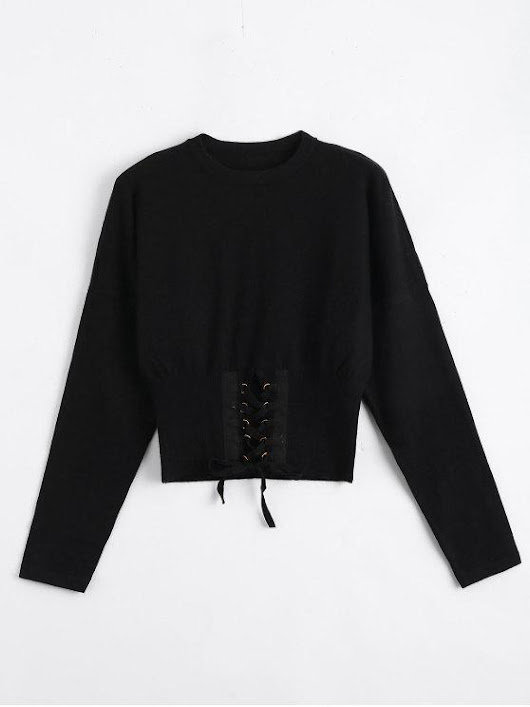 Crop Knitted Lace Up Sweater