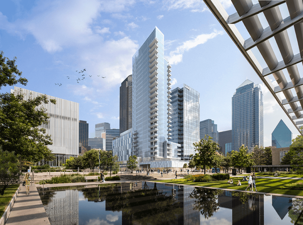 The downtown Dallas Arts District features lawns and a reflecting pool that provide a gathering place for families and arts patrons. The 68-acre (28 ha) Arts District delivers a catalyst for growth in the central business district, where residential and office towers are under construction.