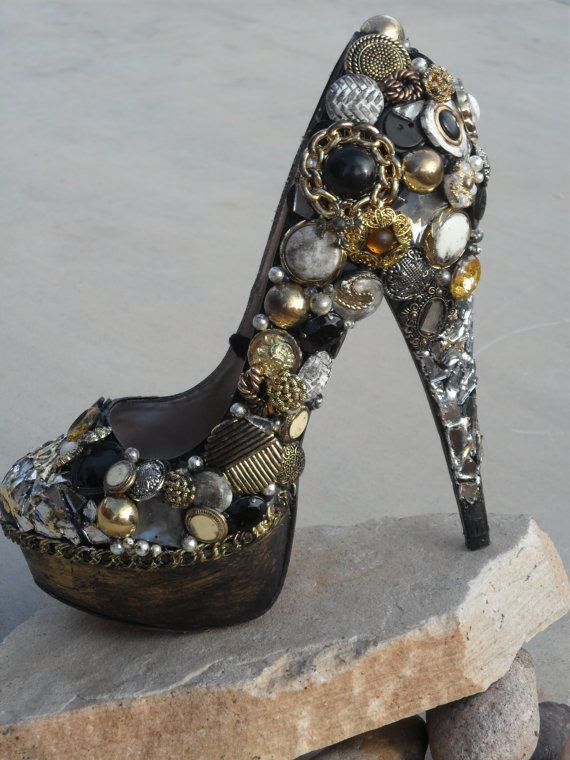 Blemished on your favorite pair of heels? Embellish them! Buttons, broken jewelry, lace... the sky's the limit!