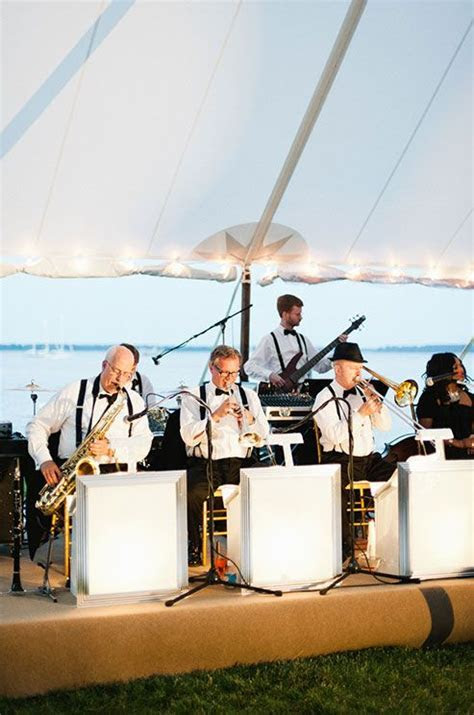 A jazz band heats up the night for this classic outdoor