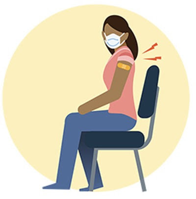 Illustration of woman sitting in chair with back pain