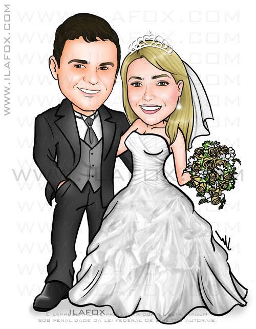 Caricatura colorida casal, noivos, corpo inteiro, noivinhos Roberta e Lysson, caricatura para casamento, by ila fox