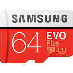 Samsung MicroSDXC EVO Plus Memory Card with Adapter, 64 GB