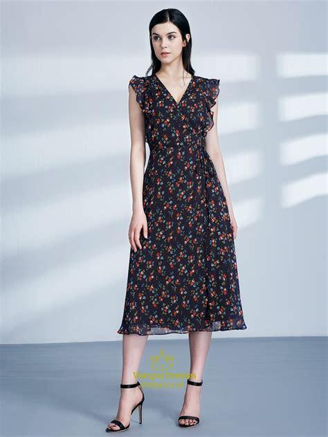 Simple V Neck Flutter Sleeve Tea Length Floral Print Dress