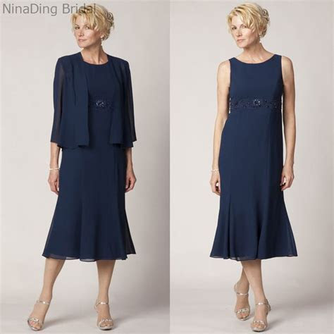 Lace Tea Length Mother of the Bride Dress Plus Size Navy