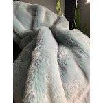 "Modern Faux Fur Dip Dye Extra Heavy Two Tone Throw Gray White And Gray Blue - 50"" x 60"" / Gray Blue"