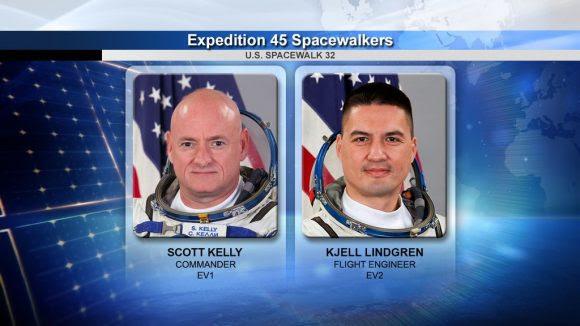 Los 'spacewalkers' Scott Kelly y Kjell Lindgren (NASA).