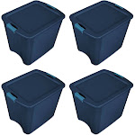 Sterilite 26 Gallon Latch and Carry Storage Tote, True Blue (4 Pack)   14487404 by VM Express