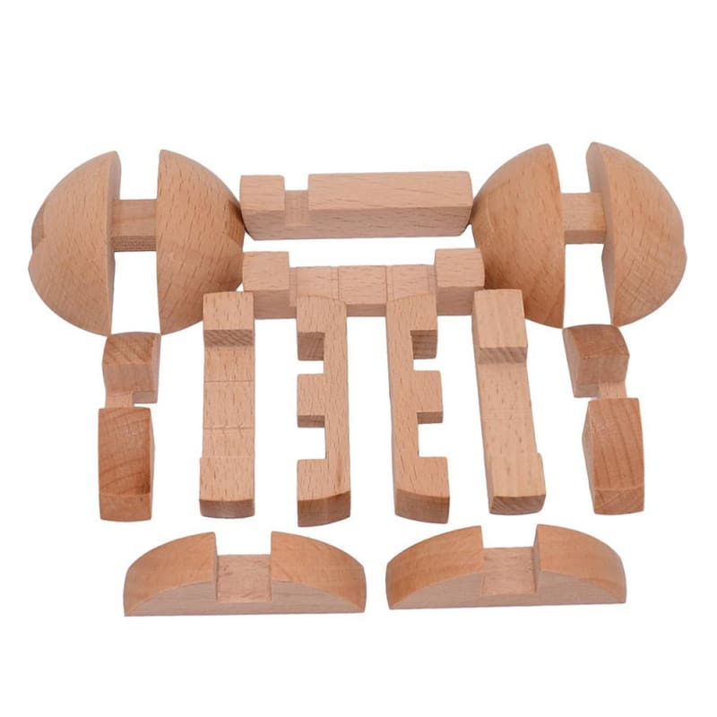 Wooden Sphere Puzzle Solution 6 Piece - All About Wooden