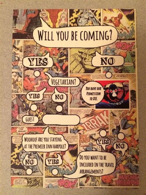 comic book invites   Superhero   Book wedding invitations