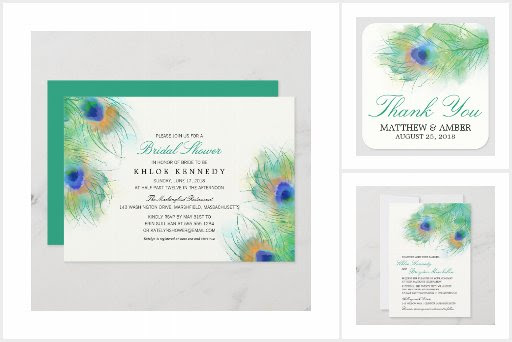 Watercolor Peacock Wedding