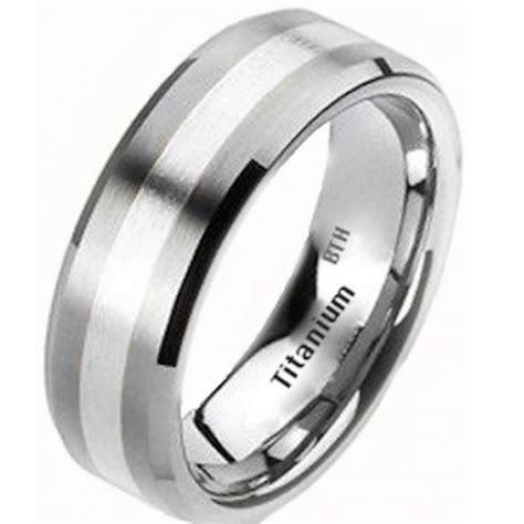 925 Silver Inlay Mens Titanium Wedding Band Ring   8mm