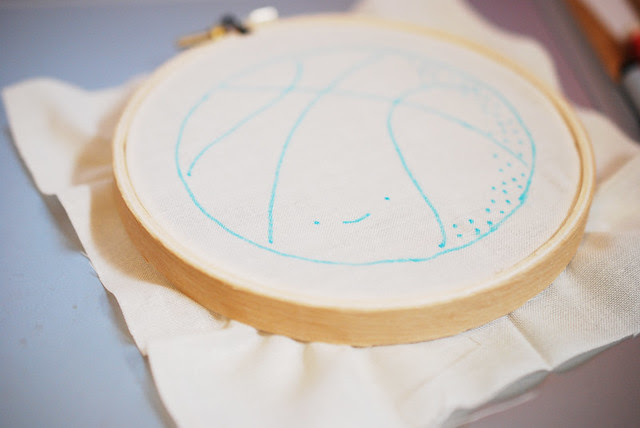 tracing embroidery on screen