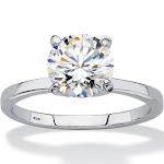 2 TCW Created White Sapphire Platinum/SS Ring