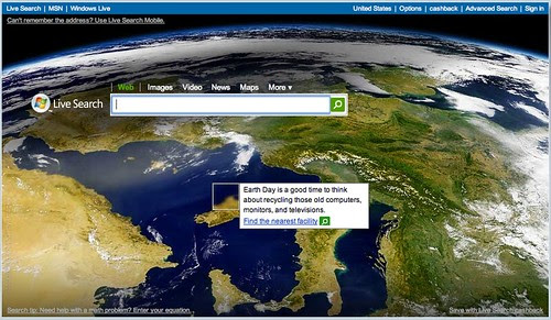 Live.com Earth Day Logo