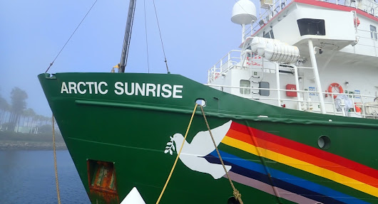 Historic Greenpeace ship, the Arctic Sunrise, arrives in Long Beach