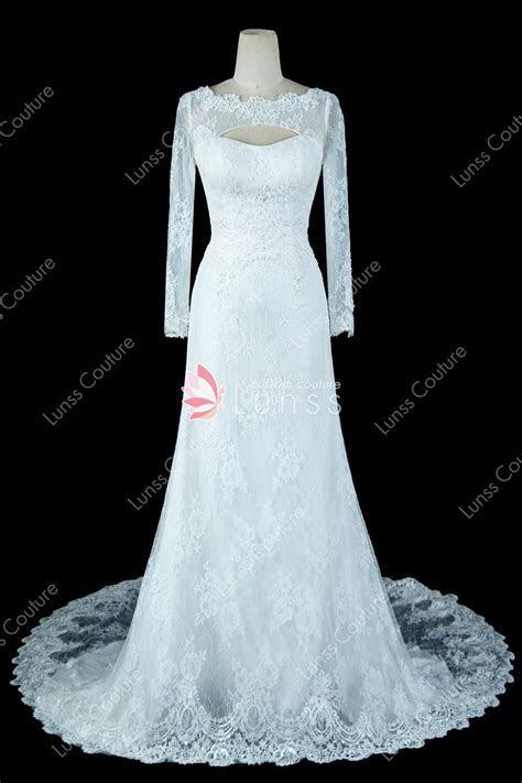Ivory Long Sleeve Beaded Lace Mermaid Wedding Dress with