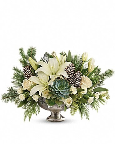 Teleflora S Winter Wilds Centerpiece In Los Angeles Ca Parisian Florist