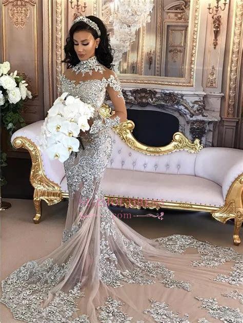 Long Sleeve Silver High Neck Popular Evening Dress Lace