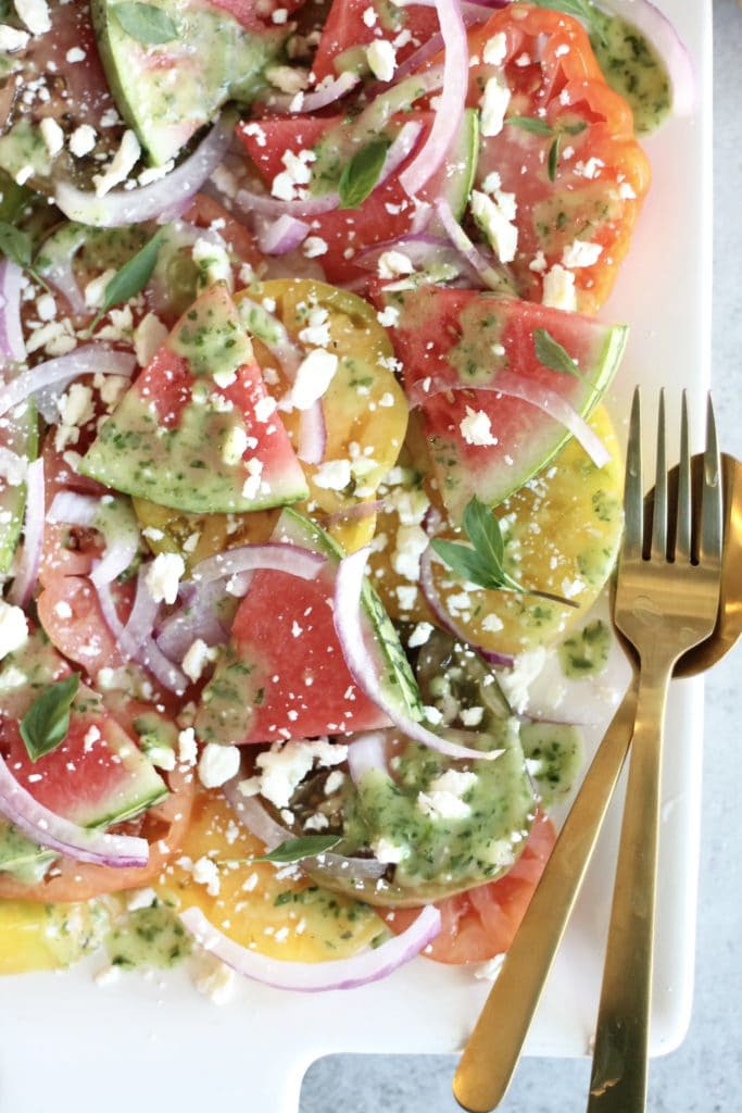 Heirloom Tomato Watermelon Salad with Feta, Red Onion, and Herb Vinaigrette