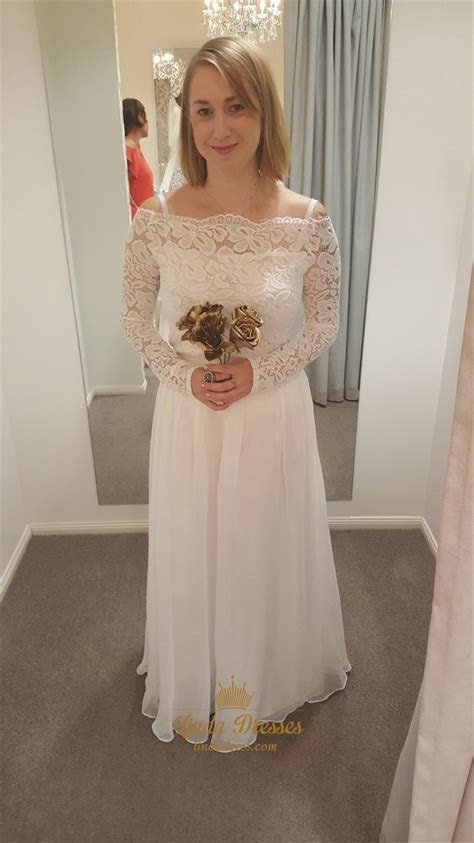 A Line Off The Shoulder Long Sleeve Lace Bodice Chiffon