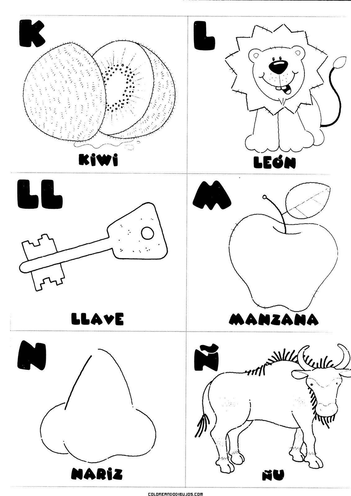 Letras K L Ll M N ñ Para Colorear