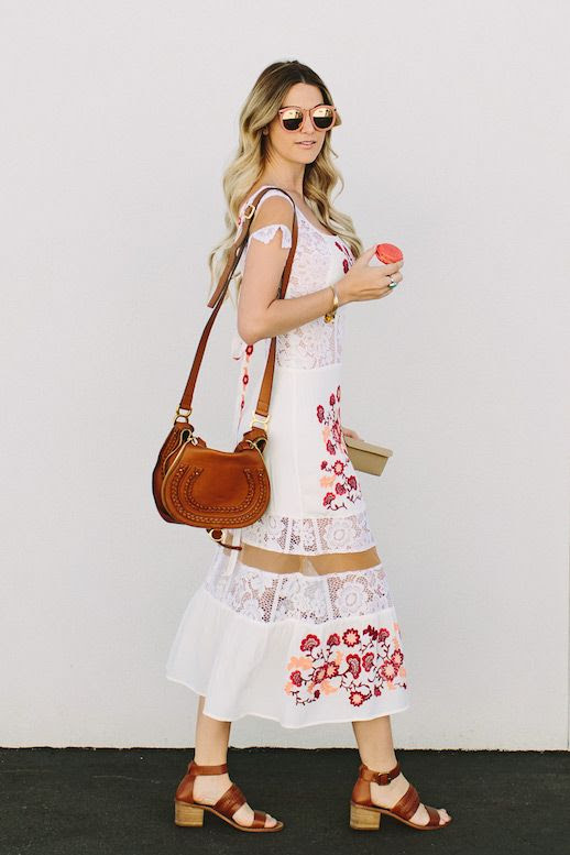 Le Fashion Blog Embroidered Dress Heeled Sandals Leather Crossbody Bag Via The Dash Of Darling