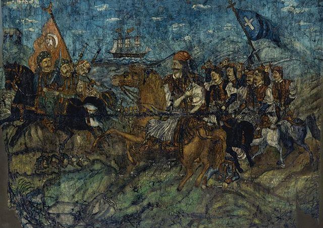 Ο Καραϊσκάκης στη μάχη του Φαλήρου, λάδι σε καμβά
