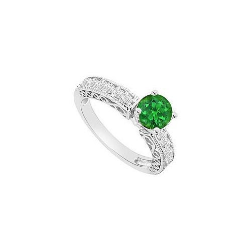 14K White Gold : Emerald and Diamond Engagement Ring 1.00 CT TGW