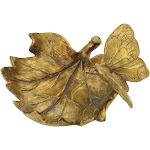 """Contemporary Home Living 6"""" Gold Leaf Finish Butterfly Design Dish Decorative Bowl"""