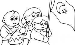 29 Ekim Cumhuriyet Bayramı çocuklar Boyama Sayfası