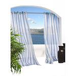 Escape Stripe Indoor/Outdoor Grommet Panel, Size: 54W x 84L, Blue