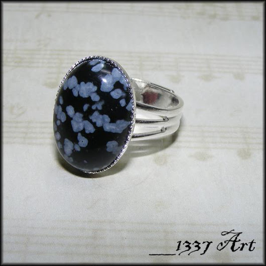 Snowflake Obsidian Adjustable Ring in Silver by 1337art on Zibbet