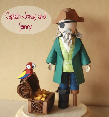 - captain jonas the pirate and sammy the parrot minifolk quilled sculpture figurine -