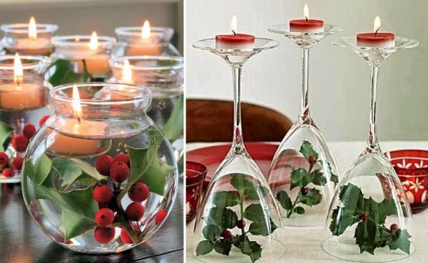 déco de table pour Noël houx-verres-pied-enversés-boule