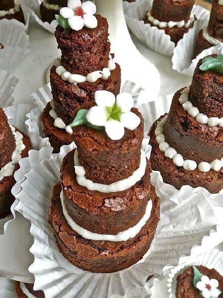 Mini three tiered brownie cakes   I like the mini tiers of