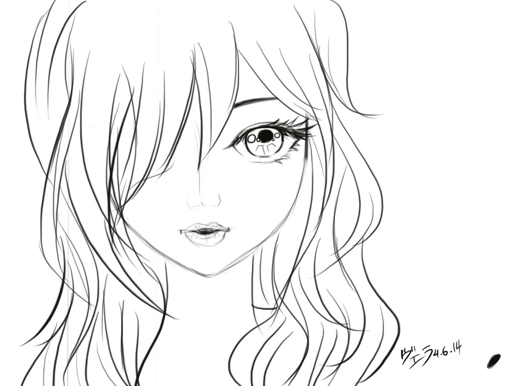1024x768 Anime Girl Face Drawing Close Up Girl#39s Face. Sketch