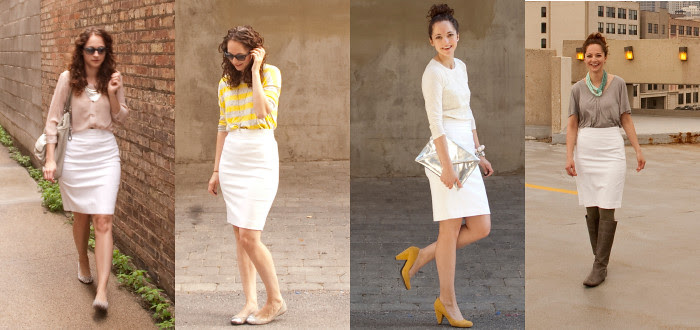 white pencil skirt, remix, one skirt, four ways, how to wear, outfit ideas, work outfits