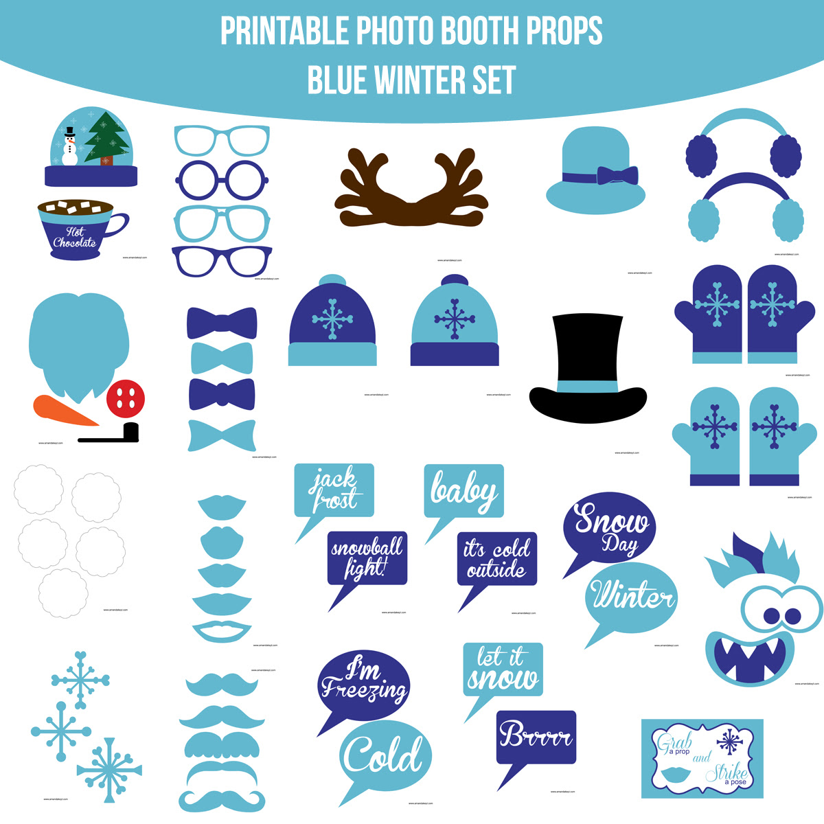 Instant Download Winter Blue Printable Photo Booth Prop Set Amanda