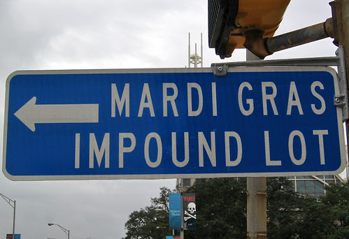 Mardi Gras Impound Lot, sign in Mobile