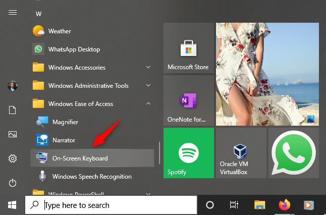 El atajo de teclado en pantalla desde el menú Inicio