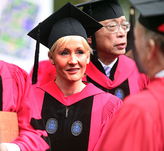 Author J.K. Rowling walks in procession.