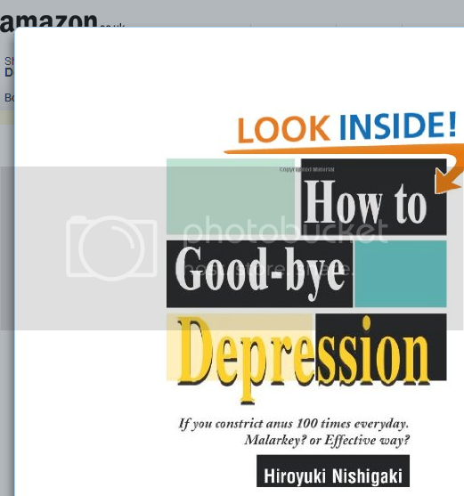 Book cover, reading 'How To Good-bye Depression: If you constrict anus 100 times everyday. Malarkey? or Effective Way?'