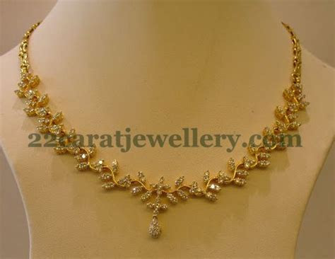 Jewellery Designs: Radiant Simple Diamond Necklace
